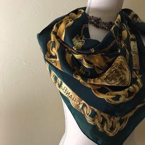"Chanel  Vintage 34"" Silk Scarf"